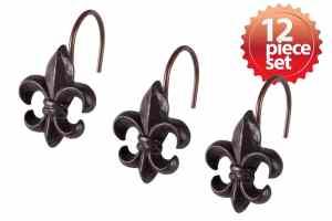 Stylish Decorative Fleur De Lis Hand Crafted Ceramic Bronze Metal Shower Hook Curtain 12 piece set
