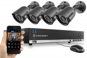 Amcrest 960H Video Security System - Four 800+ TVL Weatherproof Cameras, 65ft IR LED Night Vision, 960H DVR, Long Distance Transmit Range (984ft)