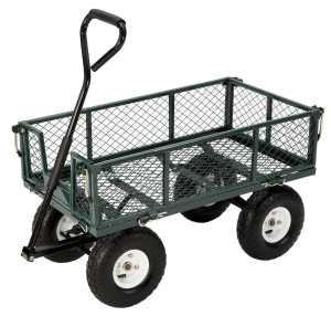 Farm & Ranch FR110-2 Steel Utility Garden Cart with Folding Sides, 400-Pound Capacity, 34-Inches by 18-Inches