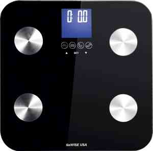 GoWISE USA Slim Digital Bathroom Scale - Measures Weight, Body Fat, Water, & Bone Mass 400 Lbs Capacity Tempered Glass (Black)