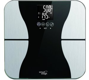 Smart Weigh Body Fat Digital Precision Scale with Tempered Glass Platform, Eight User Recognition, and 440 lb Weight Capacity, Measures Weight, Body Fat, Wat