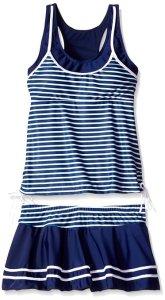Women's Tankini Striped Trapeze Swim Dress