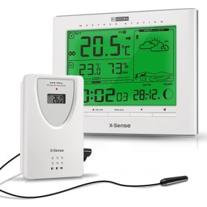 X-Sense Wireless IndoorOutdoor Weather Station with Temperature, Humidity, Moon Phase