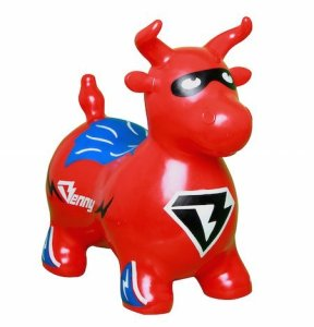 Benny the Jumping Bull Bouncy Horse Inflatable Animal Hopper Red