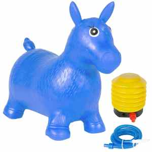 Best Choice Products Kids Blue Horse Hopper, Pump Included Inflatable Jumping Horse, Space Hopper, Ride-on Bouncy Animal