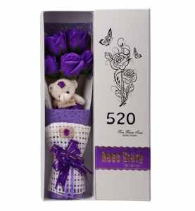 Creative Romantic Purple Flower Bouquet 5 Scented Roses Bath Soap Gift Box With Cute Teddy Bear Birthday Best Anniversary Birthday Mother's Day Valentine's Present sf503