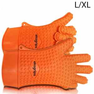 Ekogrips Max Heat Silicone BBQ Grill Oven Gloves - Designed In USA - LXL Long Cuff - 3 Sizes