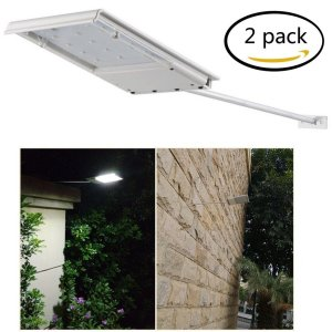 FAMI Waterproof Solar Powered LED Light  Wall Light  Security Night Light  Signage Lighting for Outdoor, Perimeter, Fence, Garden, Deck Posts, Garage, Backyard, Trees, Steps, Barn (2 Pack)