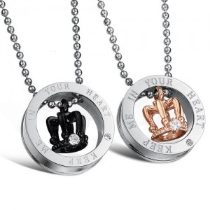 Fate Love Stunning 2pcs His & Hers Couples Gift Crown Pendant Love Necklace Set for Lover Valentine