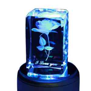 Generic Crystal 3D Rose Flower Colorful LED Light Rotating Musical Box Music Base,Engrave I Love You, Red Yellow Blue and Green Lights Gradient