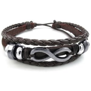 KONOV Jewelry Mens Womens Leather Bracelet, Love Infinity Charm Bangle