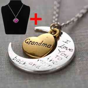 Kangnice® New Family Silver Plated Chain I Love You To The Moon And Back Necklace Pendant Christmas Party Friends Present Gift (grandma)