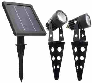 Mini 50X Twin Solar-Powered Cast Aluminium Warm White LED Spotlight 60 Lumen Per Light Fixture for Outdoor Garden Yard Landscape Downl