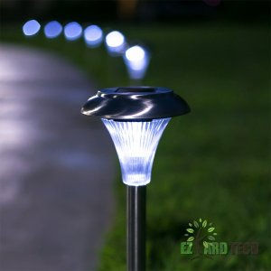 Stainless Steel Solar Powered Garden Lights Set of 10- LED Outdoor Garden and Lawn Path Lights Ideal for Patio, Deck, Driveway or Any