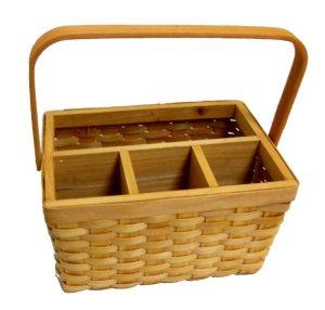 Wicker Woven Utensil Caddy Picnic Basket