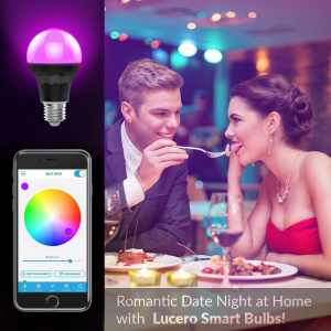 Lucero Smart LED Bluetooth A19 Light Bulb - 7.5W 60W Equivalent - RGB Multi Colored - Smartphone