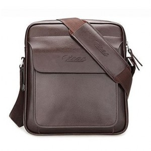 Zicac Mens Genuine Leather Cross Body Handbag Shoulder Messenger Bag