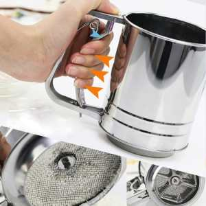 Ace Flour Sifter - Brilliant 3 Cup Mess Free Flour Sifter Ergonomic One Handed Design Superb for Flour and Similar Ingredients Premium Non Toxic Anti Rust Stainless Steel Hand Wash Series