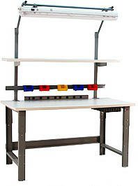 BenchPro RE3060 Roosevelt Heavy Duty Steel Industrial Work Bench with Laminate Top, 1600 lbs Capacity, 60 Width x 30-36 Height x 30 Depth
