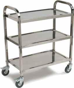 Carlisle UC4031733 Knockdown Stainless Steel 3 Shelf Utility  Service Cart