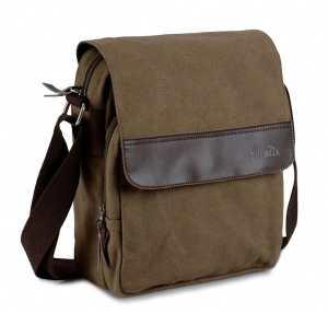 Good&god Mens Small Vintage Khaki Canvas Messenger Bag Ipad Shoulder Bag
