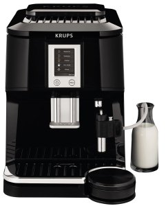 KRUPS EA8442 Falcon Fully Automatic Espresso and Cappuccino Machine with Latte Tray and Built-in Conical Burr Grinder