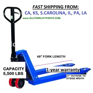 Pallet Jack Pallet Hand Truck 5500 lbs Capacity 27x48 Pallet Lift Truck