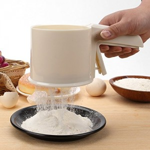 Plastic Mesh Flour Sifter Mechanical Baking Icing Sugar Semi-automatic Shaker Sieve Make Cake Cup Shape Baking Tool