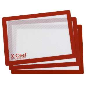 Silicone Baking Mat, X-Chef Non-Stick Silicone Rolling Mat,Pack of 3