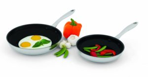 2 Piece Set - Wolfgang Puck Nonstick Omelet Pans Skillet 2 Piece 8 & 10, 18 -10 Stainless Steel Set, Dishwasher Safe