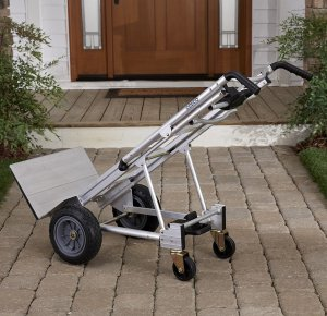 Cosco Products 12312ABL1E 3-in-1 Aluminum Hand TruckAssisted Hand TruckCart with Flat Free Wheels, AluminumBlack
