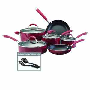 Farberware Millennium Colors Nonstick Aluminum 12-Piece Cookware Set, Red
