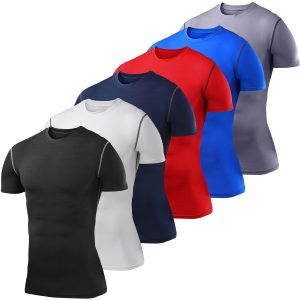 Men's Boys PowerLayer Compression Base Layer Top Short Sleeve Thermal Under Shirt