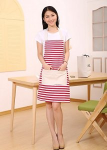 Cotton Canvas Women's Apron with One Convenient  Pocket Durable Stripe Kitchen and Cooking Apron for Women Professional Stripe Chef Apron for Cooking