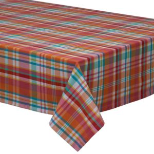 DII 100% Cotton, Machine Washable, Dinner, Summer & Picnic Tablecloth 52x52, Sherbert Plaid, Seats 4 People