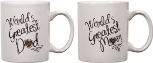 Home Essentials worlds Greatest Momdad 15 Oz. Coffee Mugs Cups, Set of 2