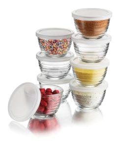 Libbey 16-Piece(8 Glass bowls & 8 Lids) 6.25-Ounce Glass Bowl Set with Plastic Lid