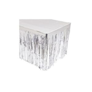 Party902 - Silver Fringe Table Skirt - Size 9 ft x 29 in
