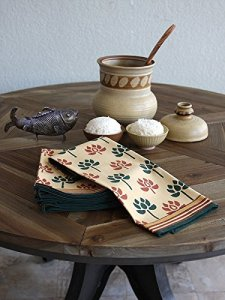 Pool Of Tranquility ~ Floral Motif Tan Cloth Dinner Napkin