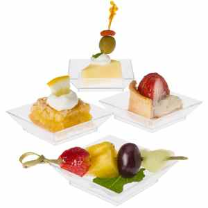Prextex Mini Dessert Plates 2.5x2.5 - 100 Square Clear Mini Plastic Dessert Plates