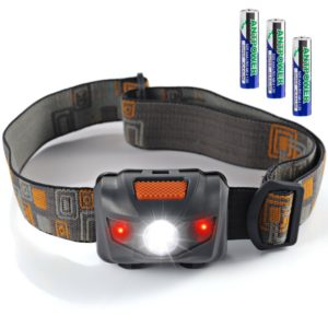 Waterproof LED Headlamp Flashlight- 4 Modes(White lights Red Lights and SOS)- Great for Reading Running, Hiking, Camping,
