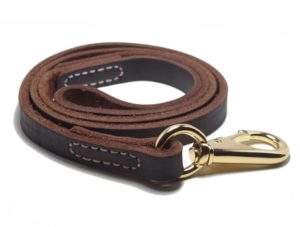 YOGADOG Genuine Leather Dog Training Leash, Brown. Large Metal Clasp for Medium and Large Dogs. Lifetime Gurantee