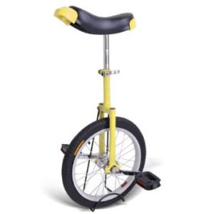 16 Yellow Unicycle Mountain Bike with Adjustable Seat and Quick Release