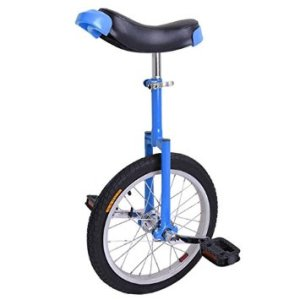 16-inch Wheel Aluminum Rim Steel Fork Frame Unicycle Blue w Comfortable Saddle Seat Rubber Mountain Tire for Balance Exercise Training Road Street Bike Cycling