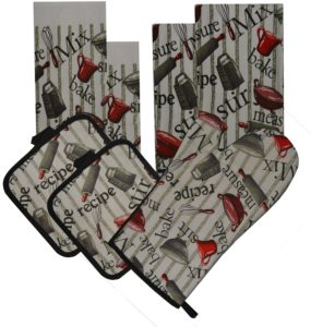 7 Pieces 100% Cotton Kitchen Linen Set. (Oven Mitt, Kitchen Towels, Dish Cloths and Pot Holders) (Kitchen Tools)