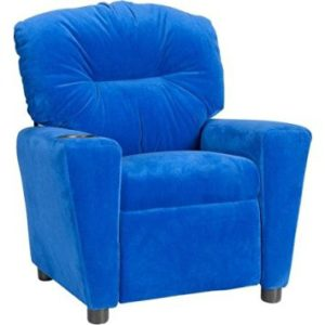 Convenient and Durable Flash Furniture Kids' Microfiber Recliner with Cup Holder, Multiple Colors (Blue)