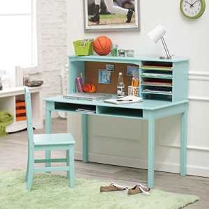 Crafted of Natural Wood Stylish, Functional Desk Set with Hutch and Chair -Teal