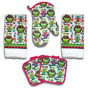 Kitchen Towel Set 5 Piece Towels Pot Holders Oven Mitt Decorative Design Everyday Use (5 Piece, Pink Owl)