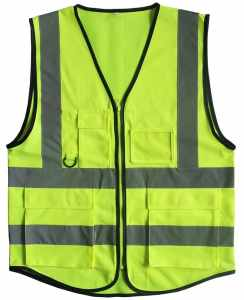 Misslo 5 Pockets High Visibility Zipper Front Safety Vest with Reflective Strips, Neon Yellow(XXL)