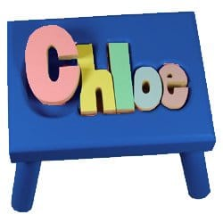 Personalized Pastel Puzzle Step Stool-1-8 letters - Color Blue